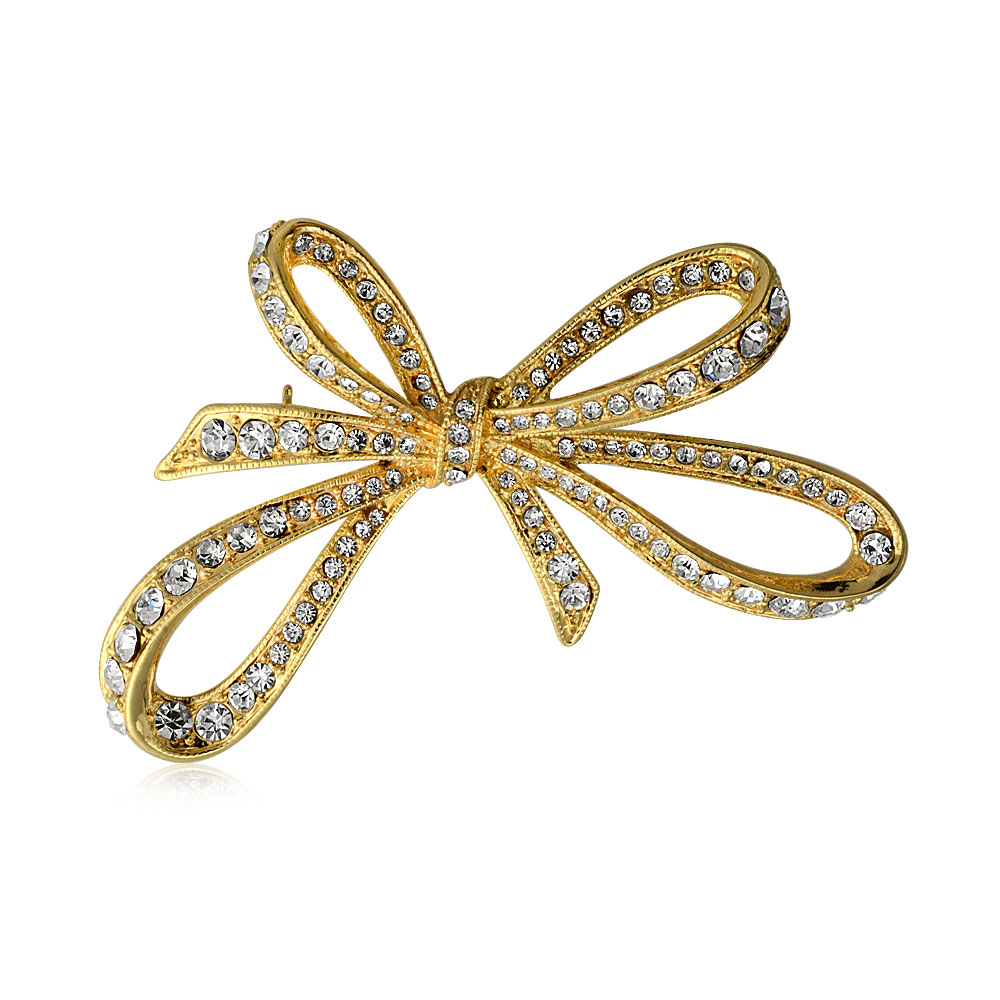 Bling Jewelry Gold Plated Pave Crystal Ribbon Brooch Large Bow Pin by Bling Jewelry