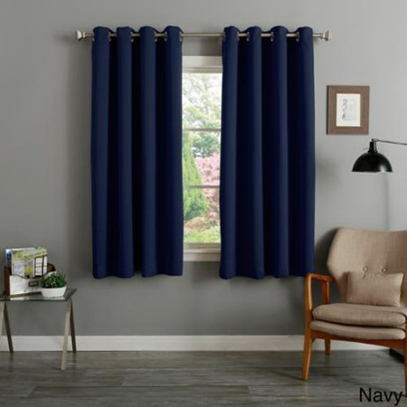 Aurora Home Silver Grommet Top Thermal Insulated 63 Inch Blackout Curtain Panel Pair