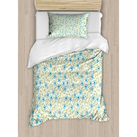 Spring Duvet Cover Set Twin Size, Flourishing Petals Summer Daisies Vintage Gardening Theme Meadow Motif, Decorative 2 Piece Bedding Set with 1 Pillow Sham, Avocado Green Pale Blue, by