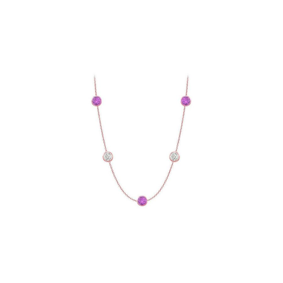LoveBrightJewelry Color By Yard Amethyst Necklace in 14K Rose Gold 25 Carat with 36 inch Long by Love Bright