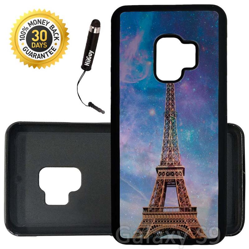 Custom Galaxy S9 Case (Eiffel Tower Nebula) Edge-to-Edge Rubber Black Cover Ultra Slim | Lightweight | Includes Stylus Pen by Innosub