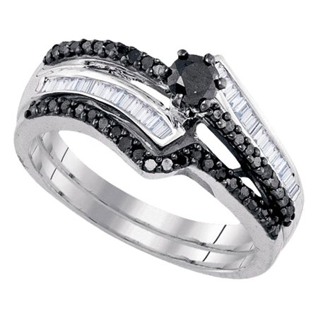 Sterling Silver Womens Round Black Color Enhanced Diamond Bridal Wedding Engagement Ring Band Set 5/8 Cttw - April Wedding Colors