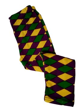 Mardi Gras Leggings 18 - 24 Mth Diamond Purple Green Yellow Soft Knit 18-24