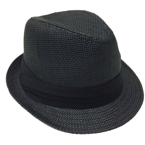 Faded Glory Women's Straw Fedora Hat with Pleated Band