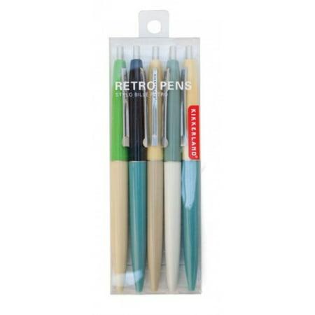 Kikkerland Retro Pens Set of 5, Multi (4308-A)