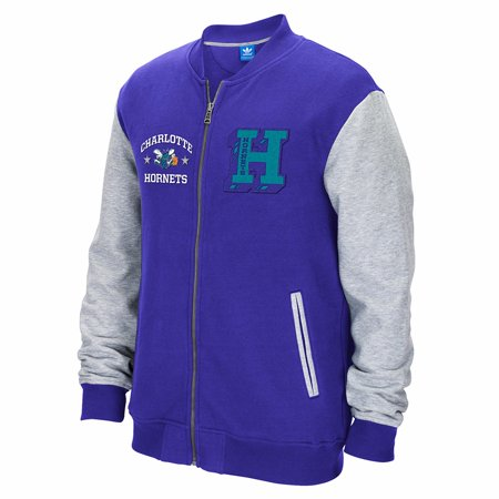 Charlotte Hornets NBA Adidas Purple Adidas Originals Full Zip Classics Letterman  Jacket For Men - Letterman Jacket Customize