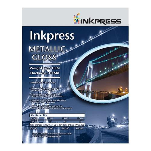 "Inkpress Metallic Gloss Inkjet Paper, 255 gsm, 10 mil, Metallic Glossy Surface, 5x7"", 50 Sheets"