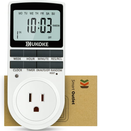 Ukoke Appliance Timer with Outlet, Weekly Programmable, 1 -