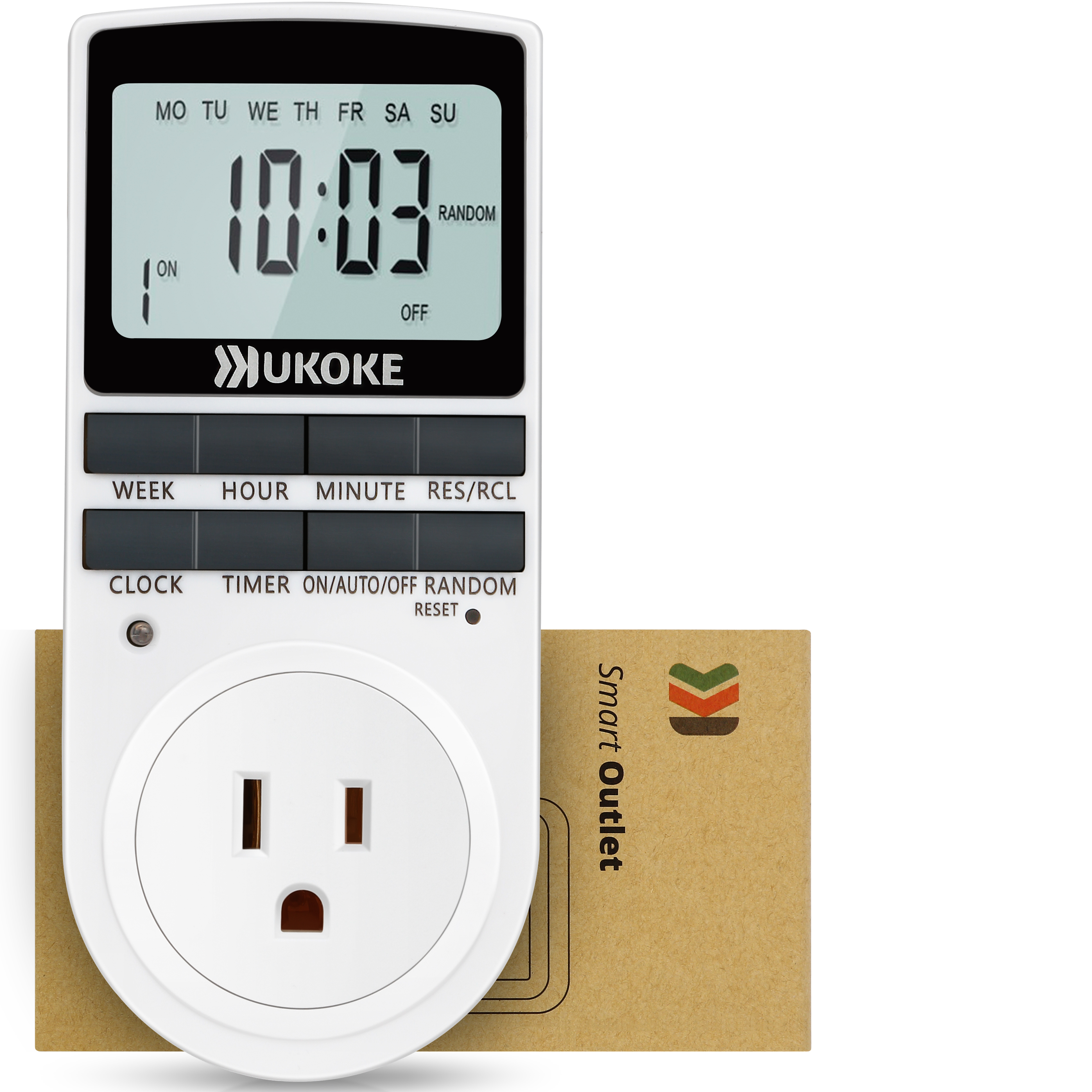 Light Timer, UKOKE Timer Outlet, Appliance Timer with Outlet, 7 Day Weekly Programmable Outlet with Timer, Wall Timer Light Switch, Vacation Light Timer, Plug-In Timer for Electrical Outlet