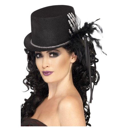 Skeleton Hand Bones Black Top Hat Glitter Gothic Victorian Costume Accessory - Costplay Costume