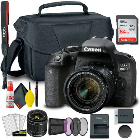 Canon EOS 800D / Rebel T7i DSLR Camera with 18-55mm Lens + Creative Filter Set, EOS Camera Bag + Sandisk Ultra 64GB Card + 6AVE Electronics Cleaning Set, And More (International Model)