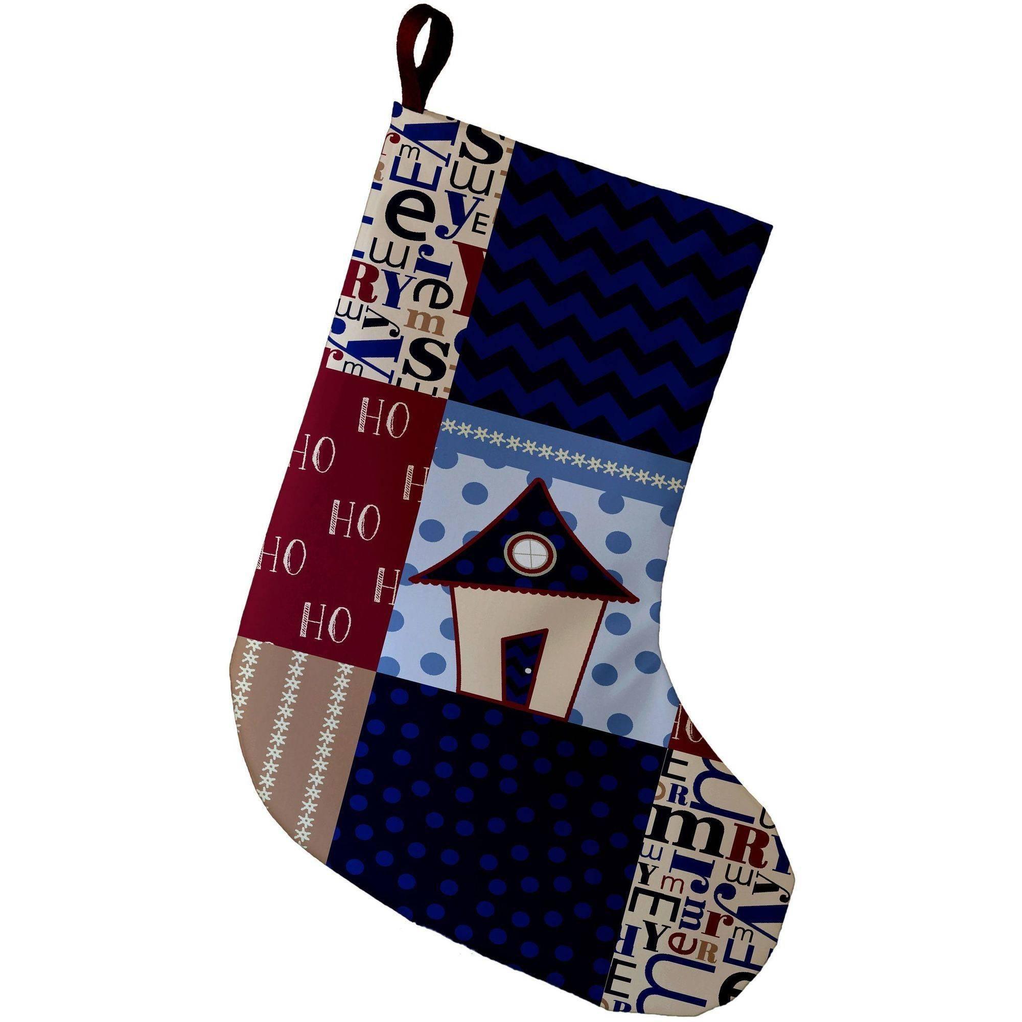 E By Design Simply Daisy, 9 x 16, Merry Coastal Christmas, Decorative Holiday Geometric Print Stocking