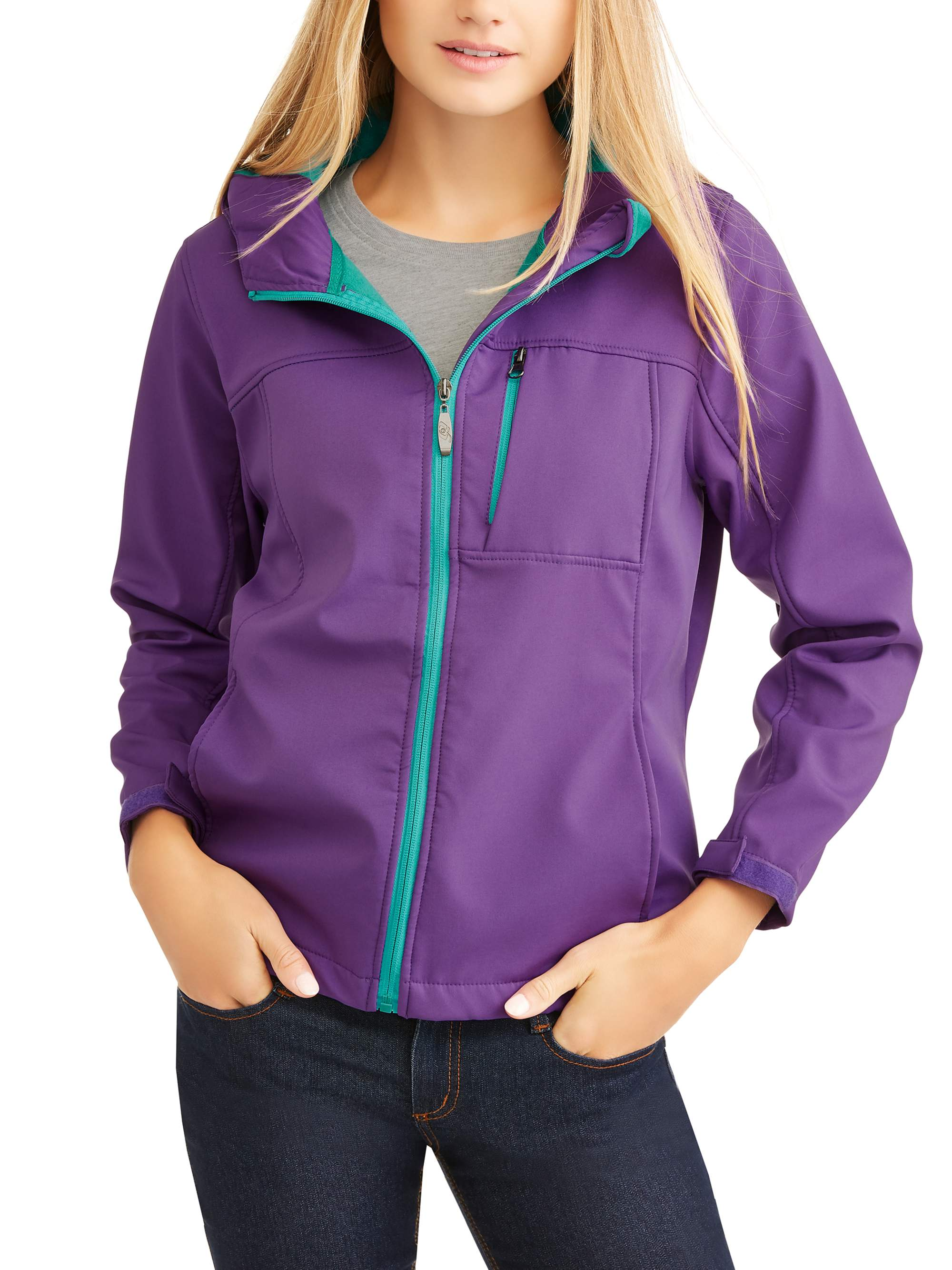 Women's Bonded Hooded Soft Shell Jacket W/Contrast Color Zipper