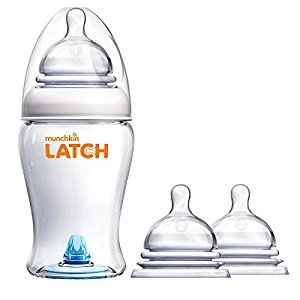 Munchkin Latch 8 Ounce BPA-Free Bottle with Replacement Stage 2 Nipples by Munchkin