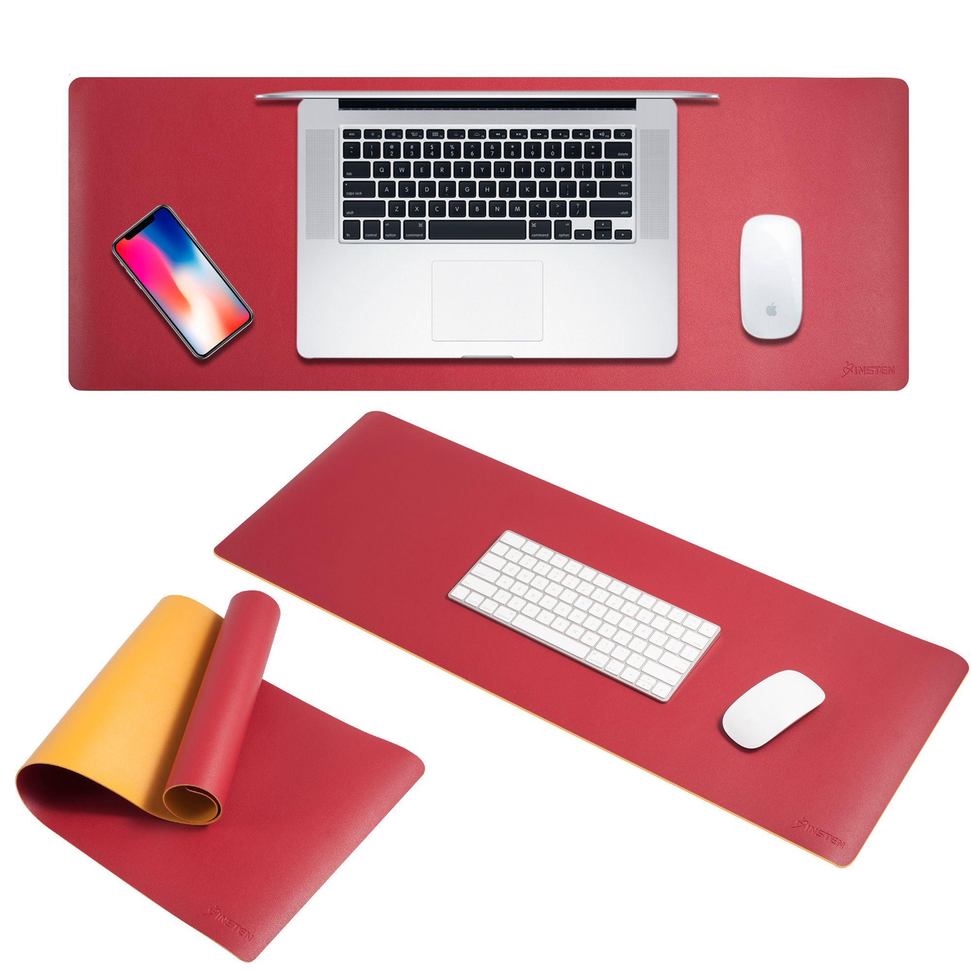 Large Mouse Pad by Insten Double-Sided Color Roll Up Leather Mouse Pad Keyboard Mat with Strap For Computer Desk PC Gaming (31.5 inch x 11.8 inch) - Red/Yellow