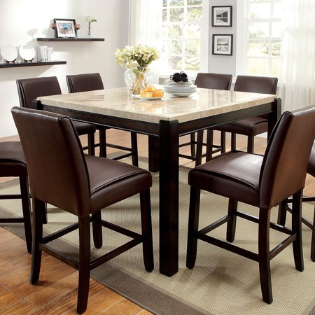 Furniture of America  Joreth Genuine Marble Top Counter Height Dining Table - Walnut