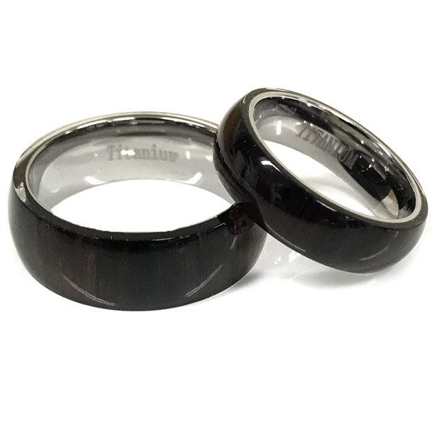 For Him & Her 8mm/6mm Pure Hawaiian Koa Dark Wood Inlay Titanium Wedding Band Ring Set