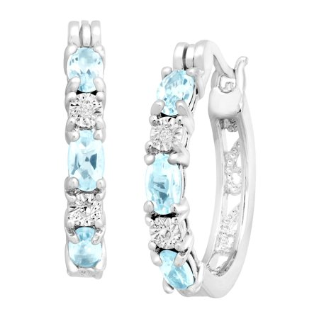 1 5/8 ct Natural Sky Blue Topaz Hoop Earrings with Diamond Accents, Platinum-Plated Brass Diamond Blue Topaz Hoop Earrings