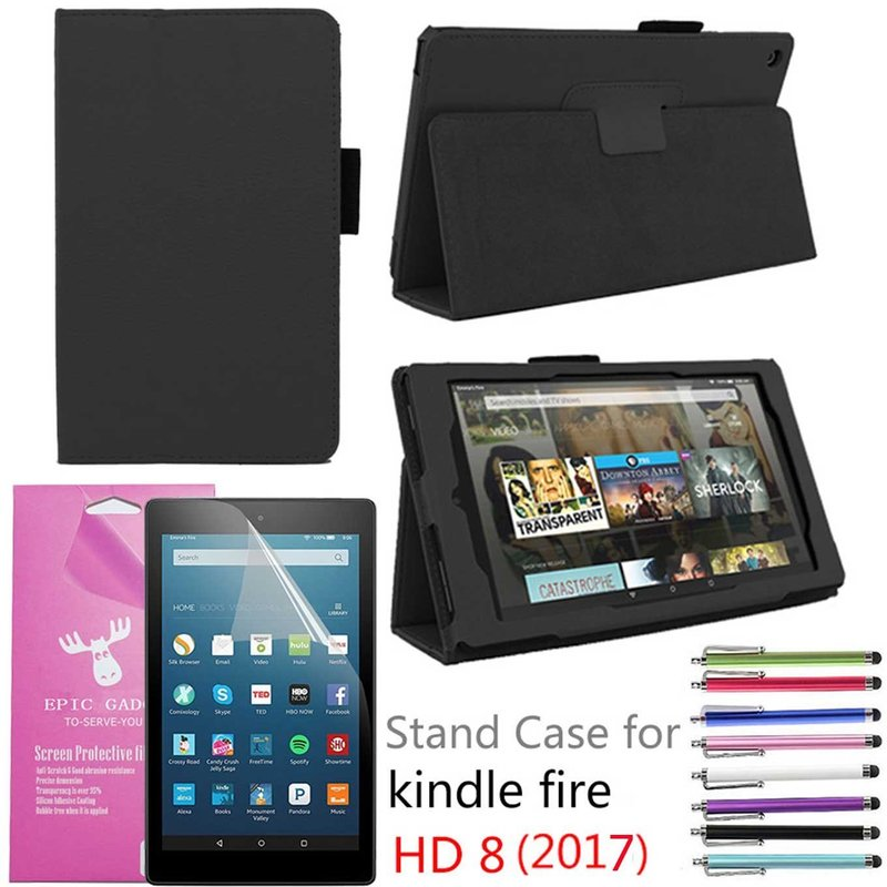 "Amazon Fire HD 8"" 2017 Case, EpicGadget(TM) Auto Sleep/Wake 7th Gen Fire HD 8 PU Leather Folding Folio Case with Built in Stand For Fire HD 8 inch (2017 Release) + 1 Screen Protector + 1 Pen (Black)"