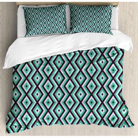 Teal And White King Size Duvet Cover Set Abstract Geometric