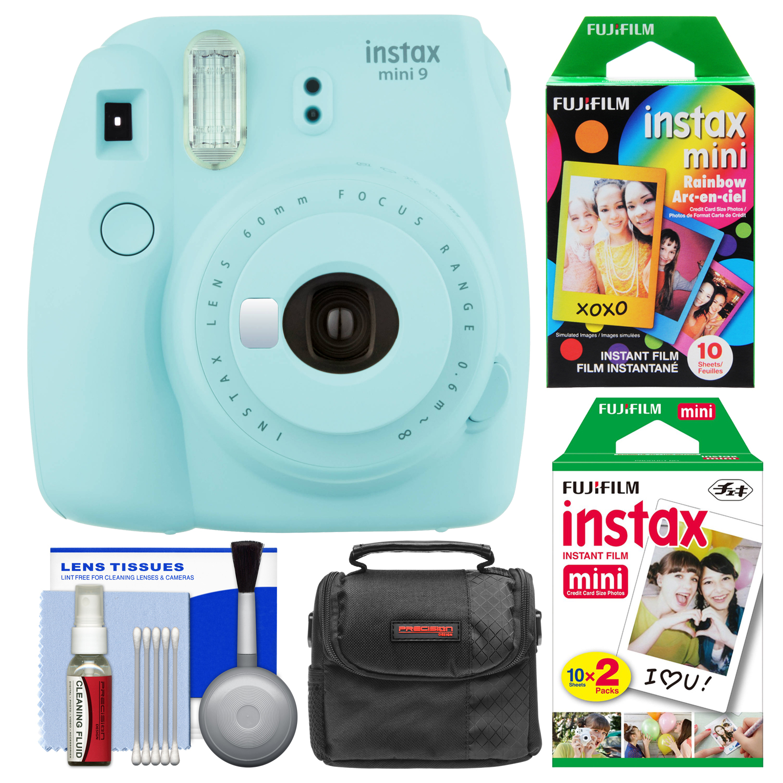 Fujifilm Instax Mini 9 Instant Film Camera (Ice Blue) with 20 Twin & 10 Rainbow Prints + Case + Cleaning Kit