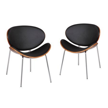 Adeco Bentwood Chairs With Curved Black Seat & Back