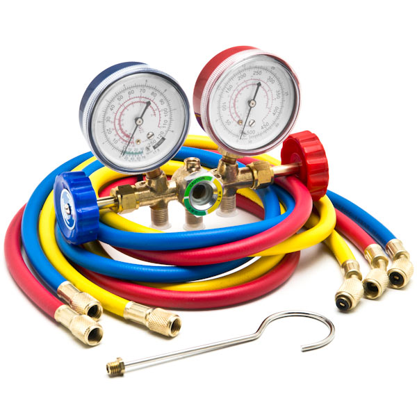 "Biltek HVAC R12 R22 R502 A/C Diagnostic Manifold Gauge Kit w/ 3 Color 60"" Charging Hose"