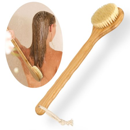 Premium Natural Bristle Wooden Bath Shower Body Back Dry Skin Brush Spa Scrubber