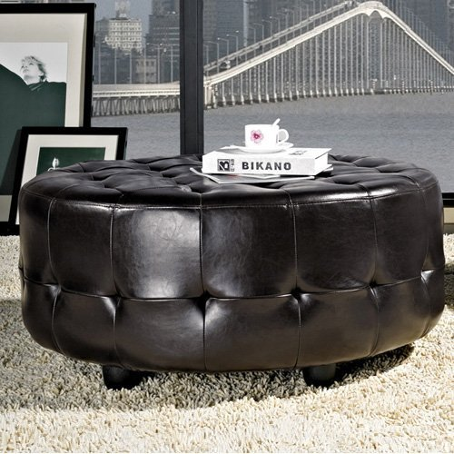 Bentley Bonded Leather Round Cocktail Ottoman