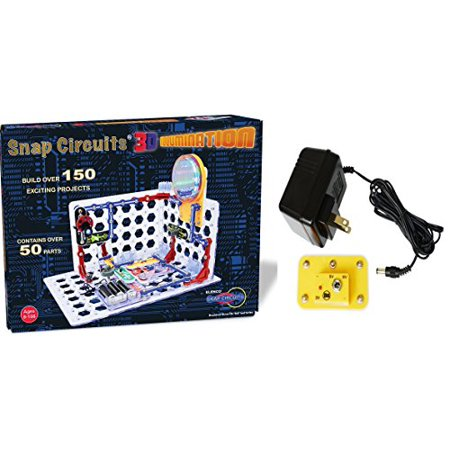 Snap Circuits 3D Illumination Electronics Discovery Deluxe Stem Kit With Battery Eliminator