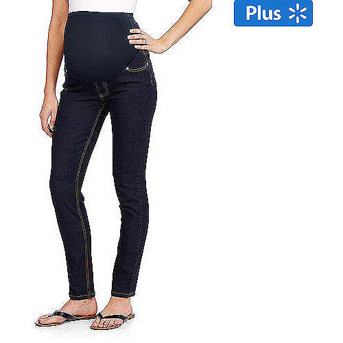 Oh! Mamma Maternity Plus-Size Full-Panel Basic Super Soft Skinny Jeans
