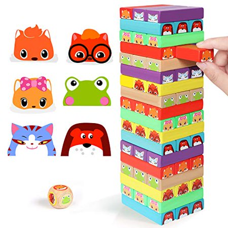 Lewo colored Stacking game Wooden Building BlocksTower Board games for Kids Adults 54 Pieces (colorful Stacking gane) - image 1 of 4