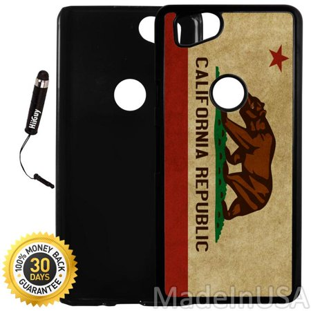 Custom Google Pixel 2 Case (California Flag Vintage Look) Plastic Black Cover Ultra Slim | Lightweight | Includes Stylus Pen by Innosub