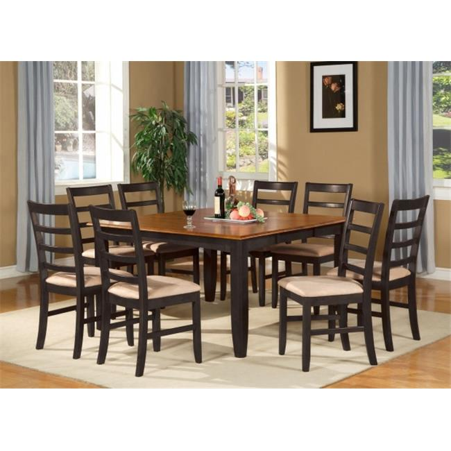 East West Furniture PARF7-BLK-C 7-Piece Parfait Square Table with 18 in. Butterfly Leaf & 6 Microfiber upholstered Seat Chairs in Black & Cherry Finish