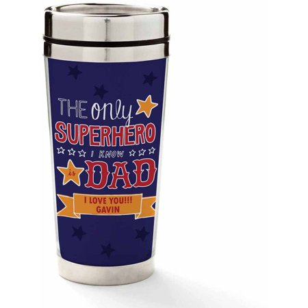Personalized Coffee Travel Mug for Dad - Superhero (Superhero Wedding)