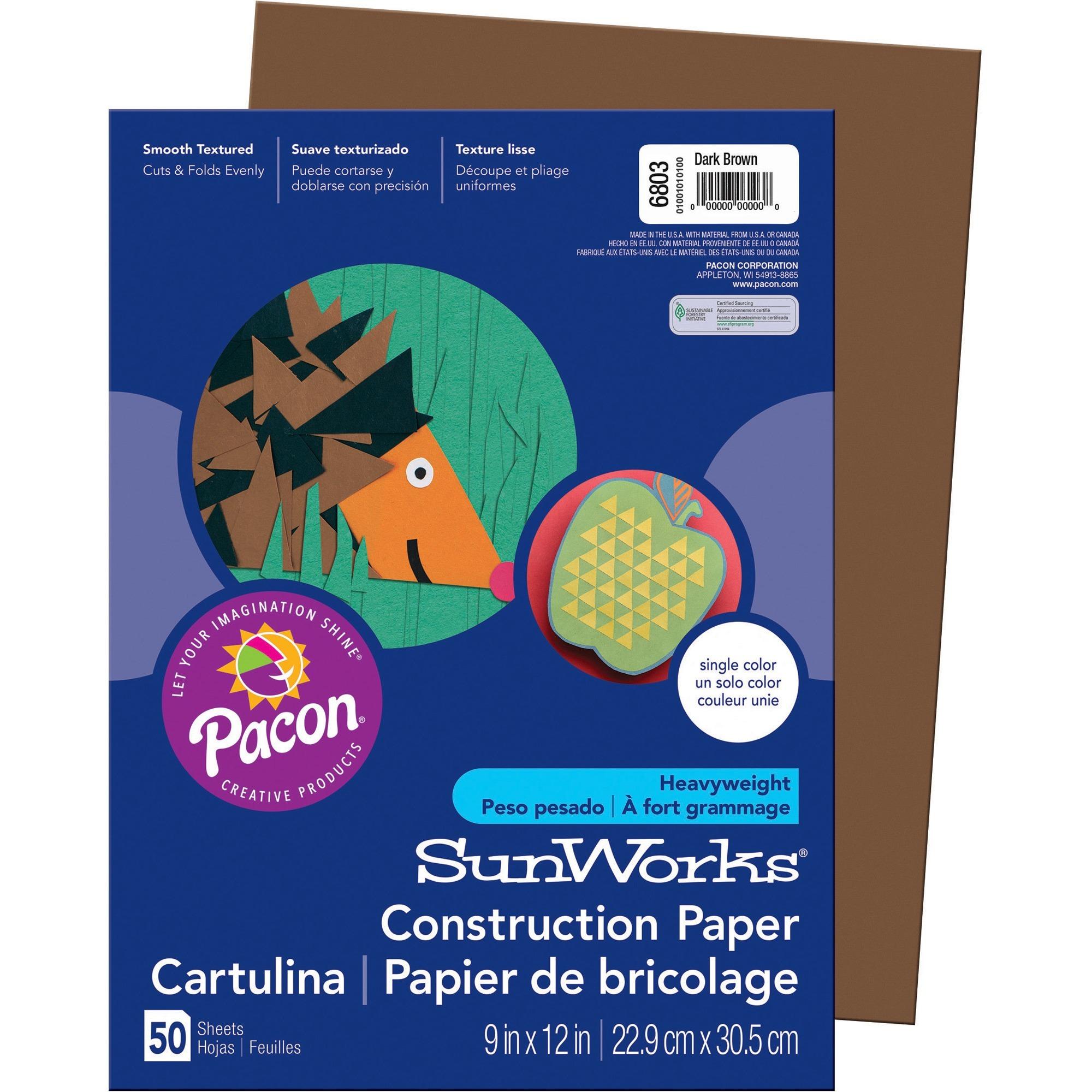 SunWorks, PAC6803, Construction Paper, 50 / Pack, Dark Brown