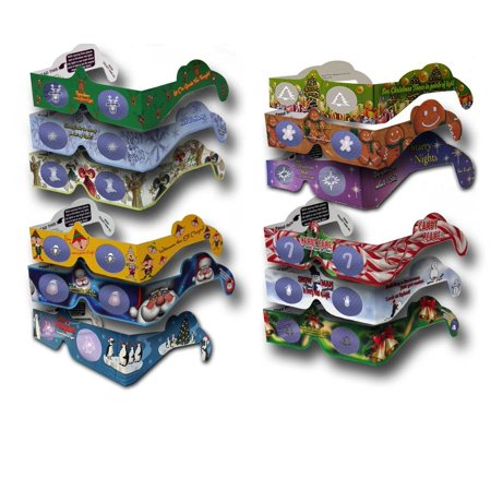 Christmas Glasses 3Dstereo Holiday Eyes - 12 pairs of Glasses - 12 Different Styles -  JINGLE BELLS -CHRISTMAS TREE - and more ()