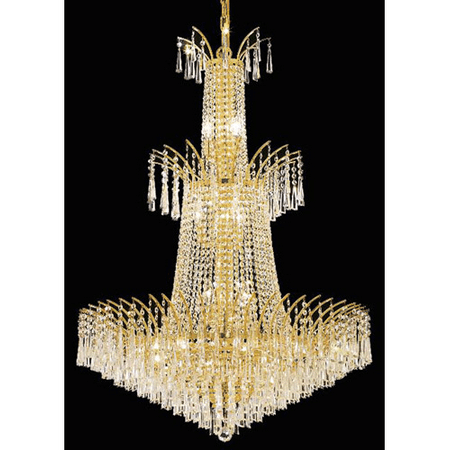 - Pendants Porch 18 Light With Clear Crystal Royal Cut Gold size 32 in 1080 Watts - World of Classic