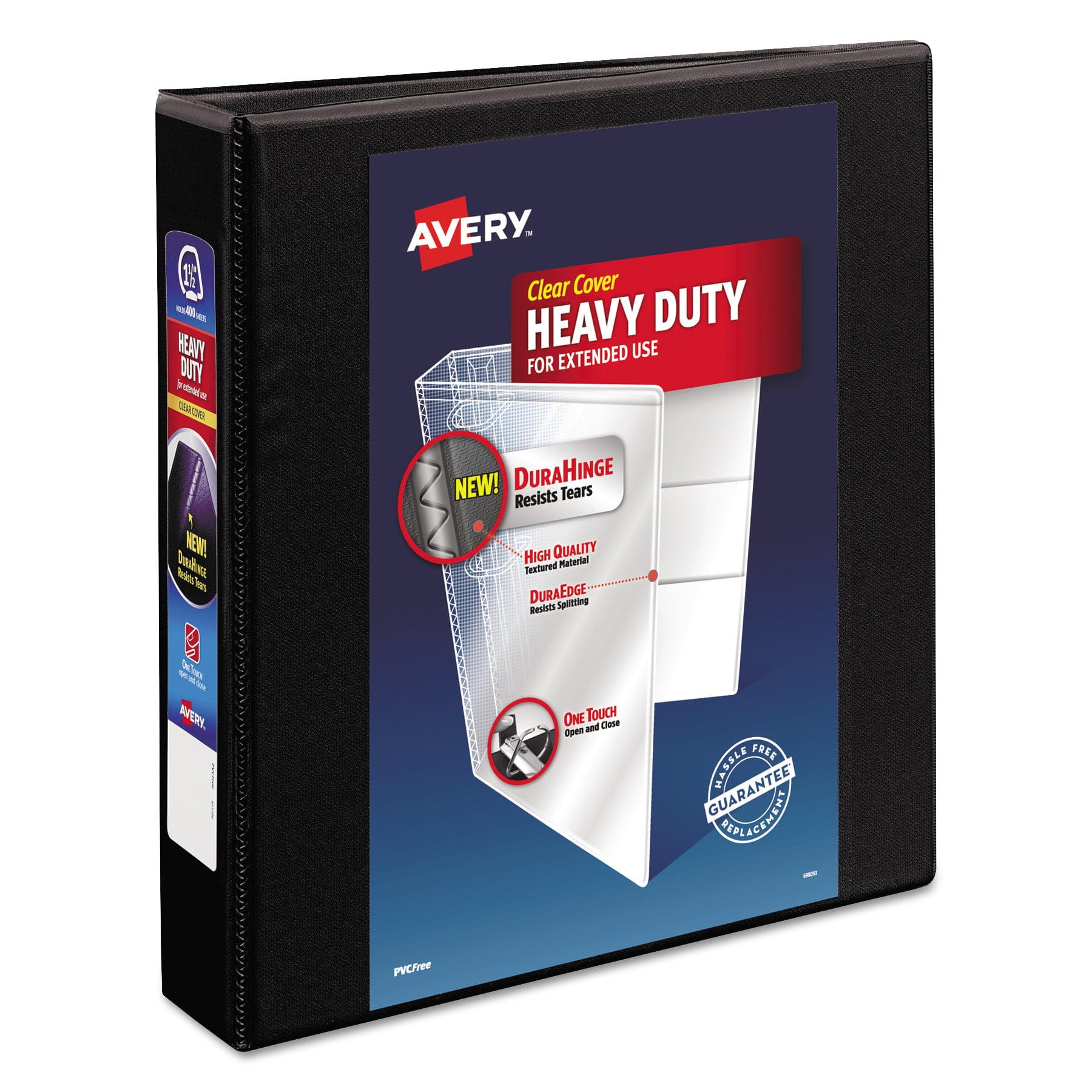 "Avery Heavy-Duty View Binder w/Locking 1-Touch EZD Rings, 1 1/2"" Cap, Black"