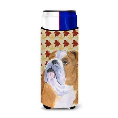 Bulldog English Fall Leaves Portrait Ultra Beverage Insulators for slim cans SS4365MUK ()