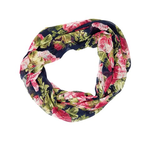 Multi Floral Scarf - Amtal Women Multicolor Roses Floral Design Lightweight & Soft Infinity Scarf