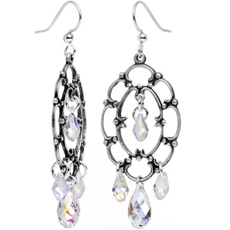 Body Candy Handcrafted Clear Drop Frame Chandelier Earrings Created with Swarovski (Swarovski Crystals Chandelier Earrings)