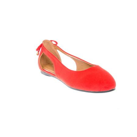 Womens Wrap Color Lite Ballet Flat Shoes Suede Dress Wedding Bow-Knot Strap Shoe Red