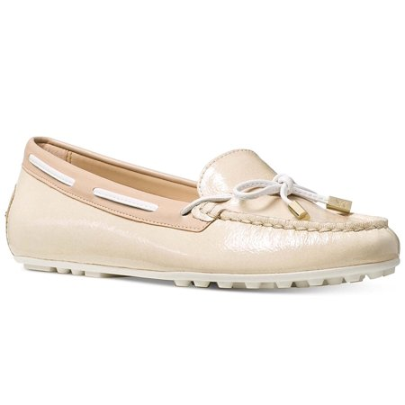 Michael Michael Kors Womens Daisy Moc Leather Round Toe Loafers (9 M US, Ecru) Leather Round Toe Loafers