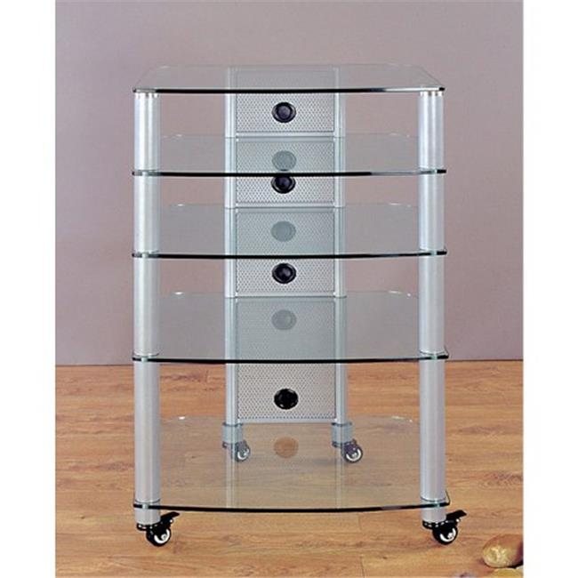 VTI Manufacturing NGR405SW Silver Poles 5 Clear Glass Shelves AV Stand