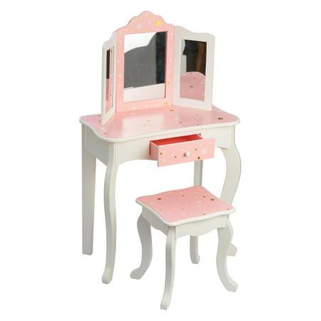 Teamson Kids - Fashion Star Prints Gisele Vanity Table & Stool Set - Pink / White / Gold