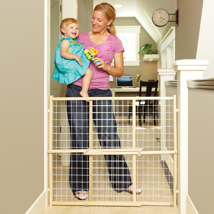 North States Gray Wire Mesh Gate Wood 29-1/2-50 in. W