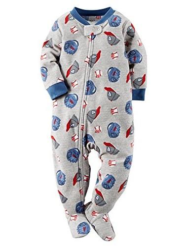 "Baby Boys' ""Baseball Summer"" Footed Pajamas - gray multi, 18 months"