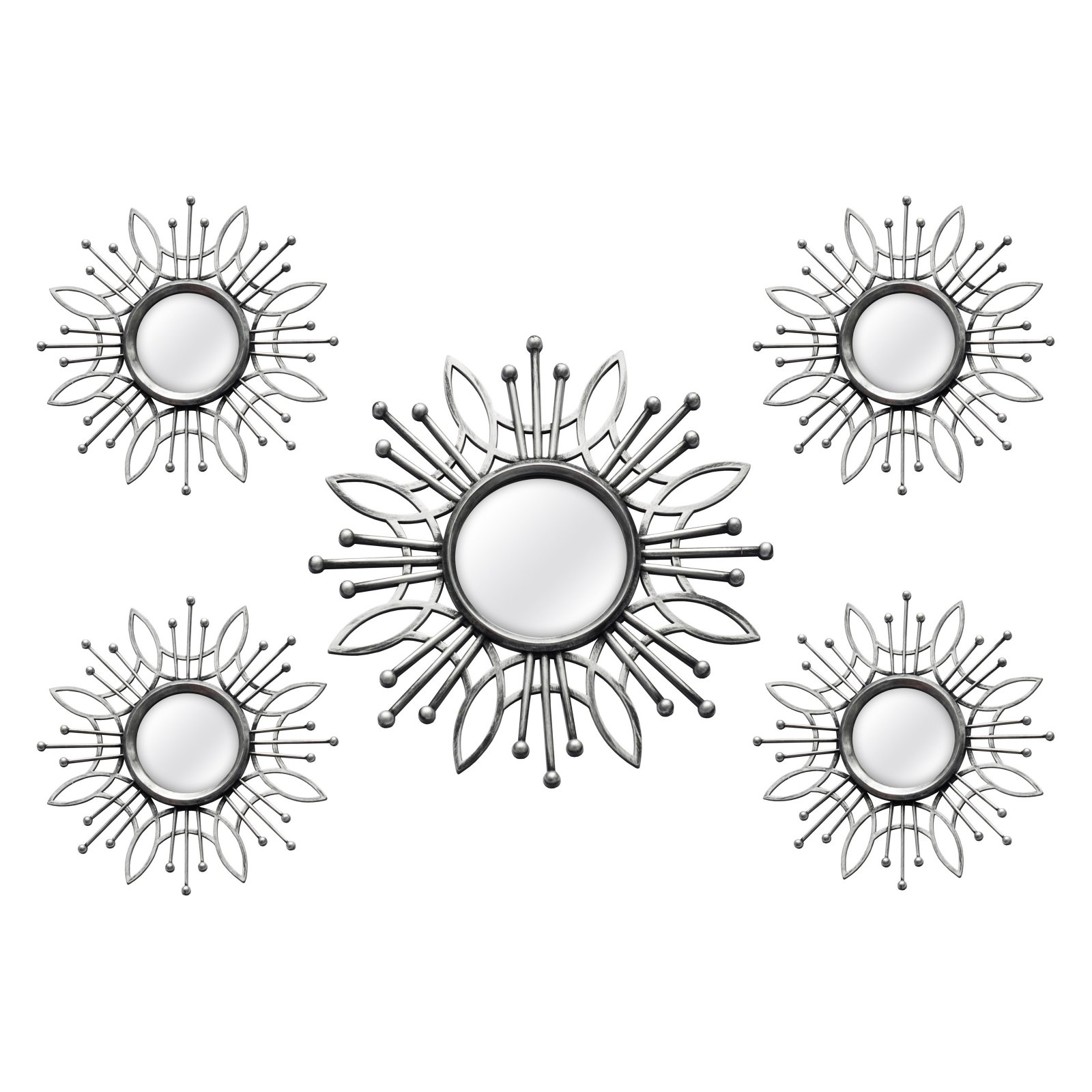 Stratton Home Decor 5-Piece Silver Burst Wall Mirror