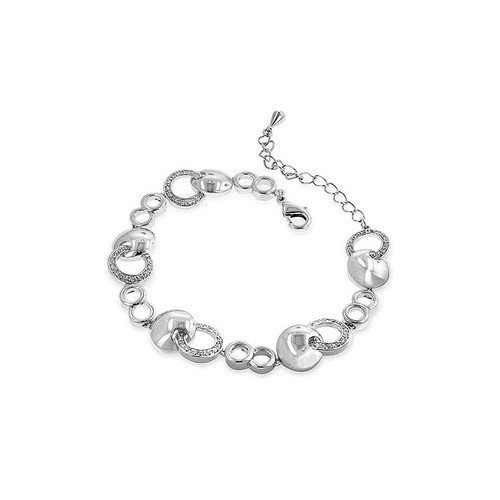 Kate Bissett Silver-Tone Contemporary Circle Cubic Zirconia Bracelet